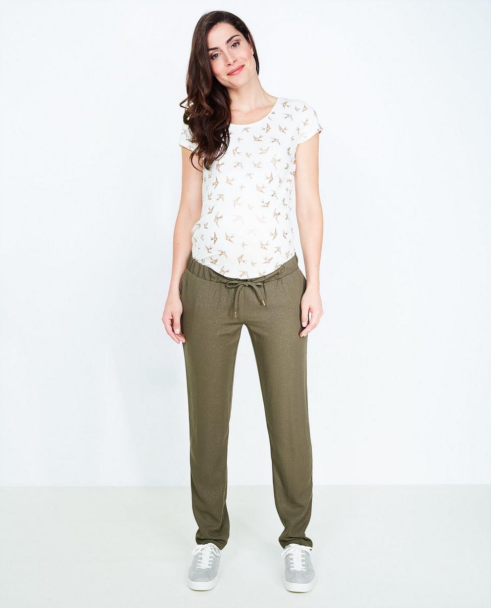 Pantalon kaki souple - imprimé à paillettes dorées - Joli Ronde